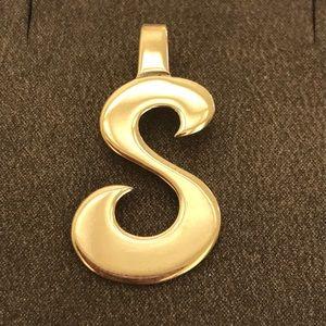 """Vintage Gold Tone """"S"""" Pendant Charm"""